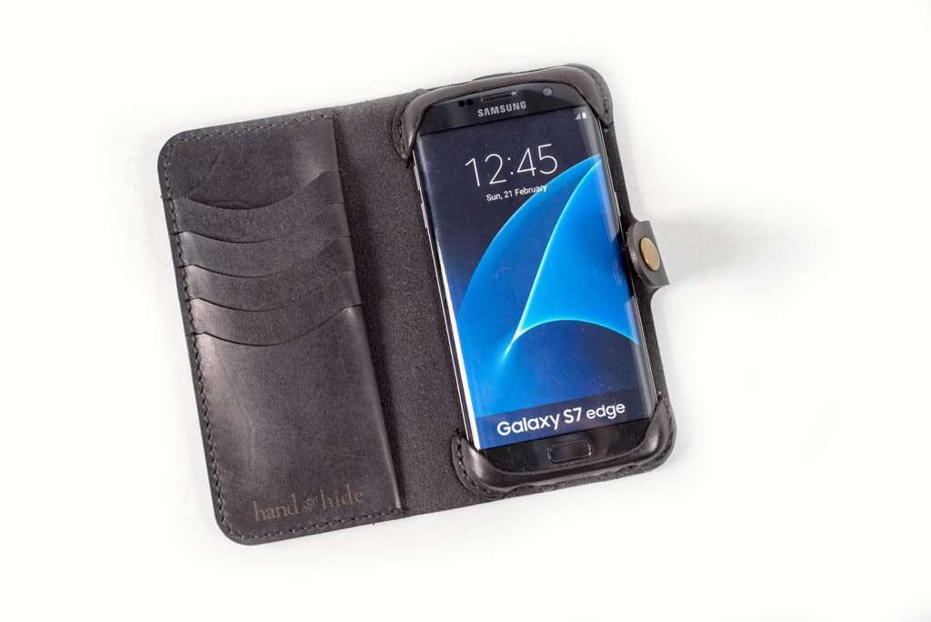 outlet store 19387 b06bf Samsung Galaxy S7 Edge Leather Phone Case | Black
