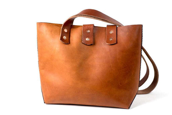 Hand and Hide Distressed Leather Tote, Hand Stitched or Riveted Design - 3 Sizes