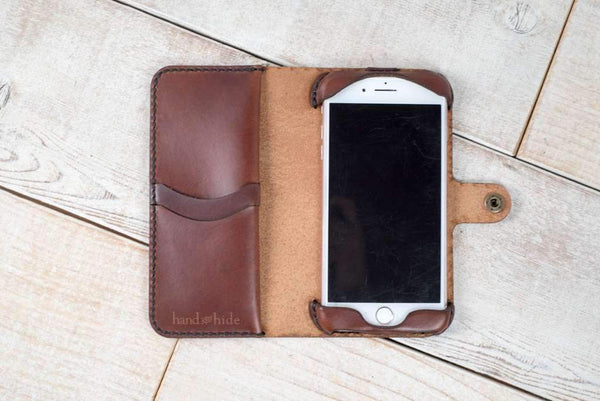 Hand and Hide leather Apple iPhone 8 Plus Custom Wallet Case
