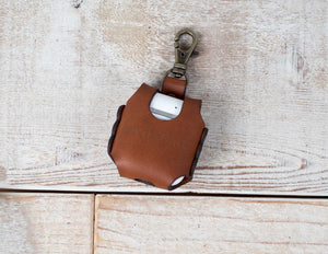 Hand and Hide leather airpod case in honey brown, back of case