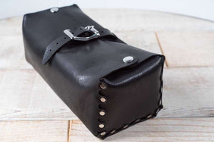 Hand and Hide Handmade Leather Dopp Kit Travel Bag in Black