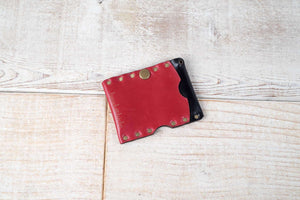 Red Riveted Micro Wallet | Sale