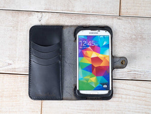 Hand and Hide leather phone wallet classic galaxy s5 case in black