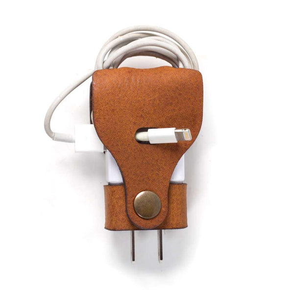 Hand and Hide Leather Charger Wrap for Samsung Chargers USA Plug in Honey Brown