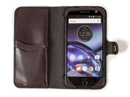 Hand and Hide Moto Z, Z Force, Z Play Leather Phone Case | Dark Chocolate