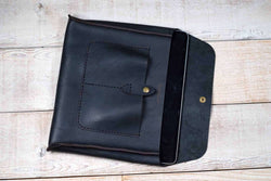 hand and hide all leather tablet sleeve in black leather for iPad or Galaxy Tab - open