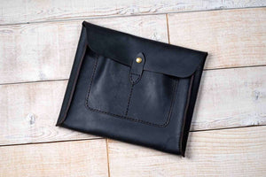 hand and hide all leather tablet sleeve in black leather for iPad or Galaxy Tab - closed