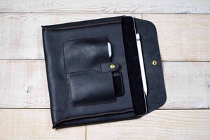 hand and hide all leather tablet sleeve in black leather for iPad or Galaxy Tab - open with extras