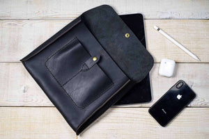 hand and hide all leather tablet sleeve in black leather for iPad or Galaxy Tab - open with items removed
