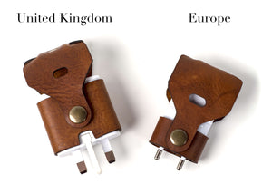 Hand and Hide Leather Cord Organizers for International Travel Samsung Plugs