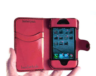 iPhone 4s Leather Wallet / Case / Cover - iPhone 4 - no plastic - Free Monogramming - Hand and Hide LLC