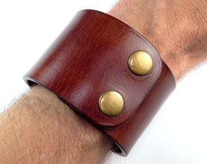 Leather Cuff / Leather Wristband / Leather Bracelet / Leather Arm Band - Free Inscription - Hand and Hide LLC  - 1