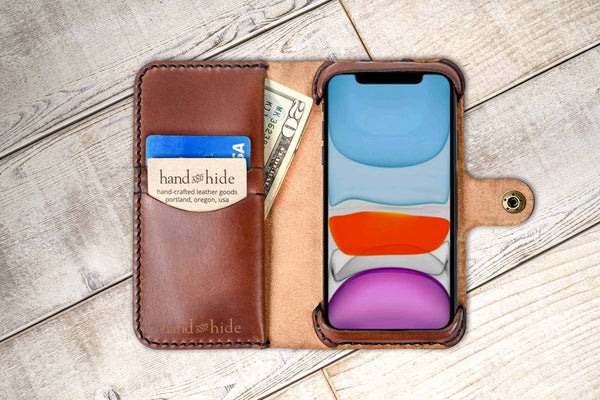 Hand and Hide leather Apple iPhone 11 Custom Wallet Case