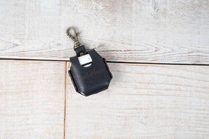 Hand and Hide leather airpod case in black