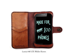 Lumia 535 Leather Wallet Case - No Plastic - Free Inscription - Hand and Hide LLC  - 1