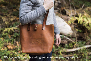 Leather Tote Large, Oil Tanned Leather, Hand Stitched - Handbag - Hand and Hide LLC
