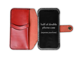 Hand and Hide leather Wallet Half-Case for Double Phone Case