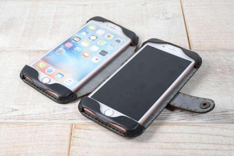 double phone case in charcoal black leather