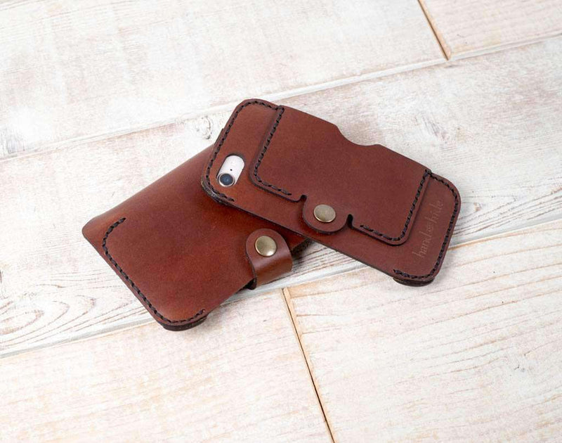 double phone case in chestnut leather