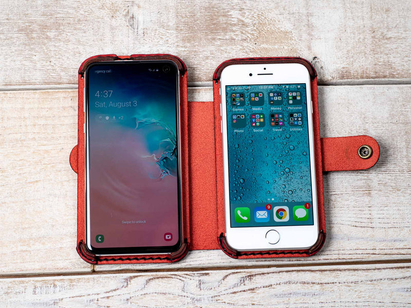 double phone case in red leather