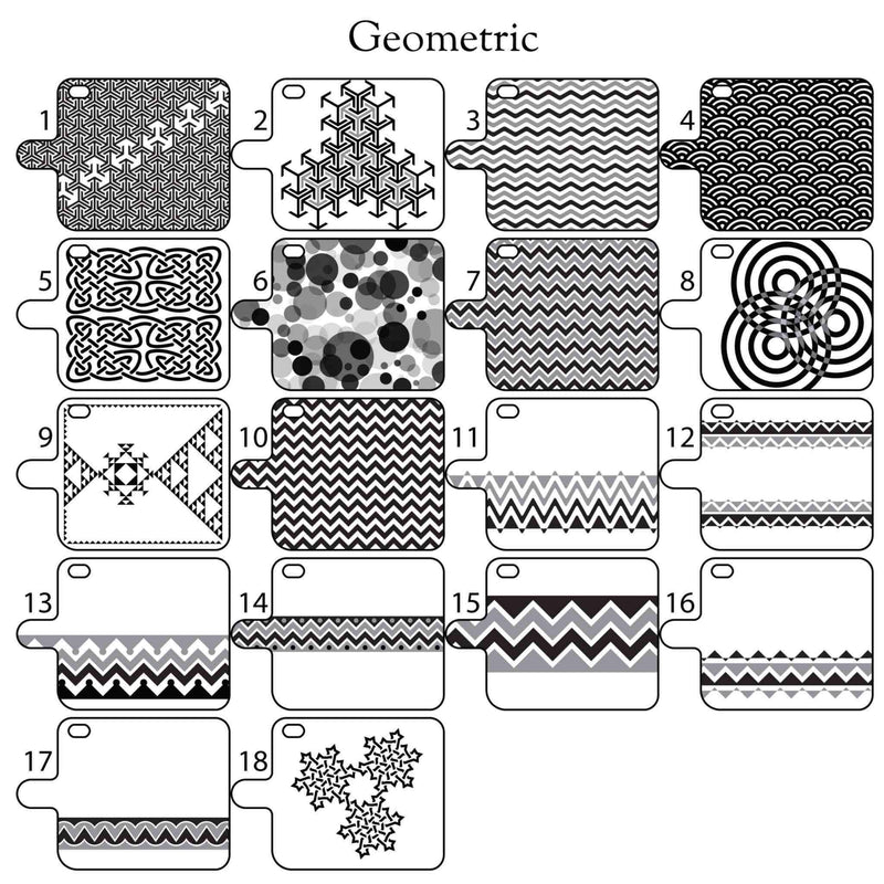 geometric etching designs for custom leather phone wallet