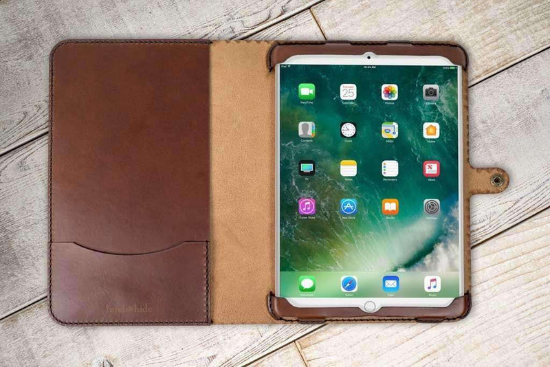 hand and hide leather iPad Pro 10.5 classic cover in chestnut wood