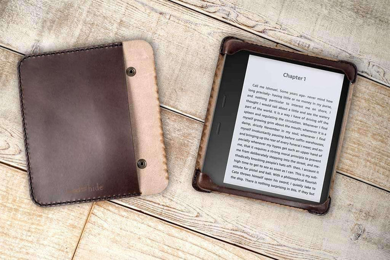 hand-stitched tablet case in dark chocolate leather