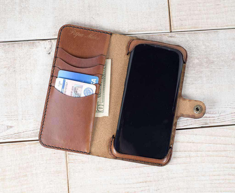 classic wallet case shown in chestnut with extra card slots