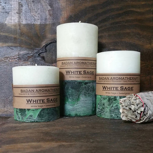 White Sage Pillar Candle Collection