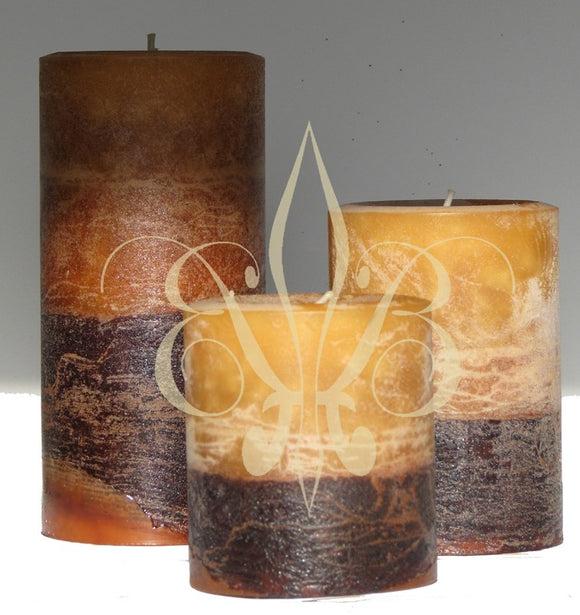Fragrant Sandalwood Pillar Candle Set of 3