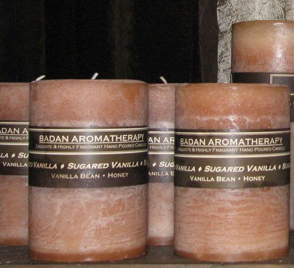 Badan Sugared Vanilla Pillar Candles 3x3.5 - Honey Candles  Hand Poured