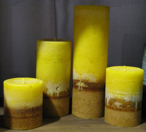 Candle Set of 4 FRANKINCENSE & MYRRH Gold Brown Pillar Candle, Hand Poured