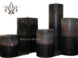 Candle: Dark Purple, Nag Champa & Fig Pillar Candle 3x4.5, Black Candle