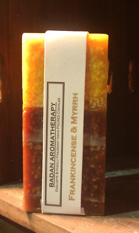 FRANKINCENSE & MYRRH Gold/Brown Square Fall Pillar Candle 3x6.5