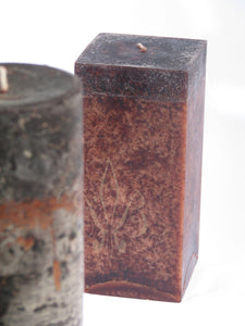 Clove Candle: Fragrant Dark Brown Clove Scented SQUARE Pillar Candle 3x6.5