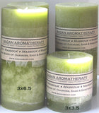 "Light Olive Green Oakmoss Sage & Sweetgrass Fragrant Handmade Aromatherapy Pillar Candle 3x3.5"" Earthy Sensual"