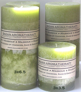 Light Olive Green Oakmoss Sage & Sweetgrass Fragrant Handmade Aromatherapy Pillar Candle Set Earthy Sensual