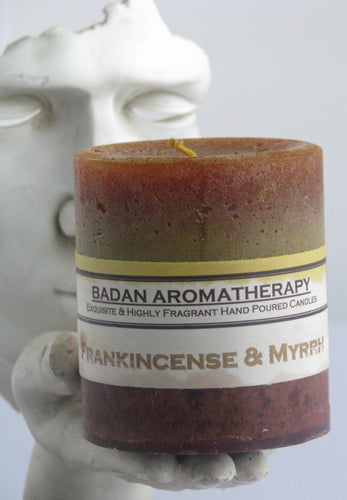 Gold FRANKINCENSE & MYRRH Pillar Candle 3x3.5