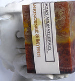 "Frankincense & Myrrh 3""x 4.5"" Square Pillar Candle"