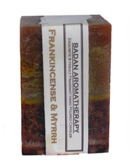 FRANKINCENSE & MYRRH Dark Gold and Brown 3x4.5 Handmade Square Pillar Candle