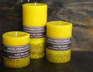 Badan Lift Me High! Yellow Citrus Lemongrass Pillar Candle Set of 3, Fragrant Pillar Candles