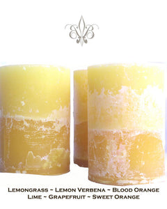 Yellow Lemongrass Lemon Verbena Blood Orange Handmade Beeswax Pillar Candle 4x6.5 Jumbo