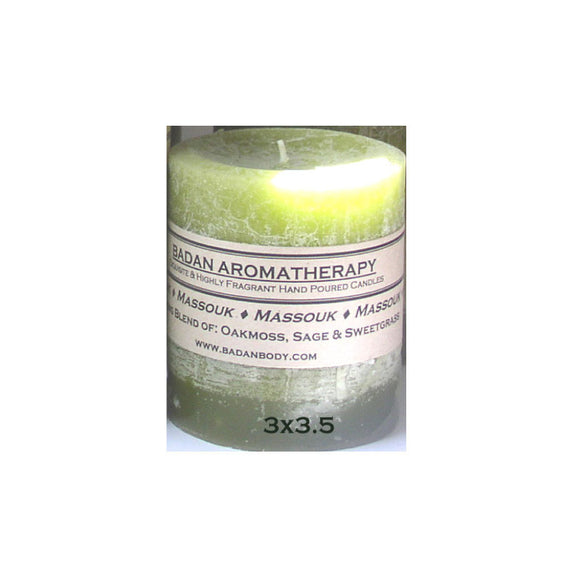 Light Olive Green Oakmoss Sage & Sweetgrass Fragrant Handmade Aromatherapy Pillar Candle 3x3.5