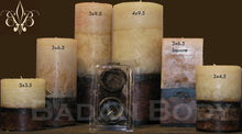Candles: Belgian Chocolate & Sandalwood  Pillar Candle Set of 3 Ivory and Brown Gift Set