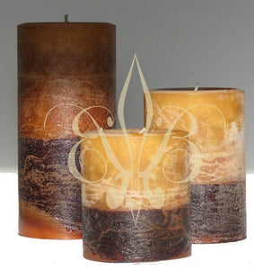 Candle: Sandalwood Fragrant Handmade Pillar Candle Set of 3 Calming, Seductive, Meditative