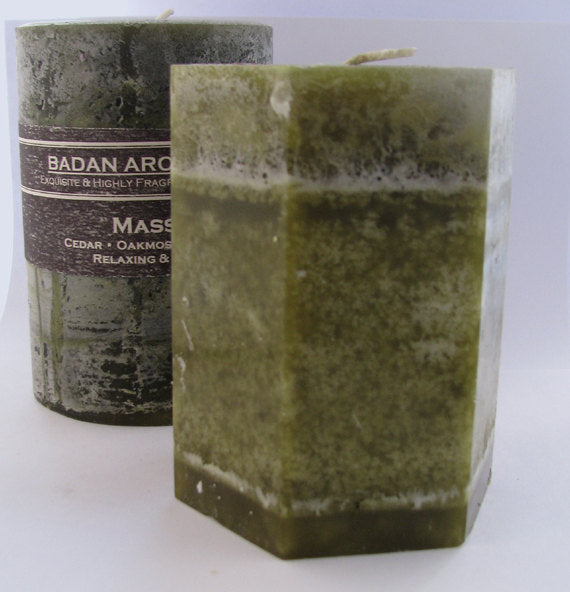 Octagon Olive Green Oakmoss Sage & Sweetgrass Fragrant Pillar Candle, 3x4 Earthy Sensual