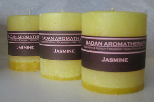 Bright Yellow: Fragrant Jasmine Pillar Candle 3x3.5