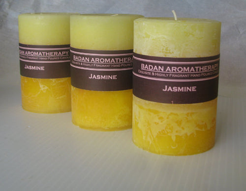 Bright Yellow: Fragrant Jasmine Pillar Candle 3x4.5