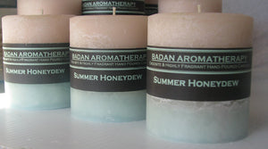 White & Melon Green: Summer Honeydew Pillar Candle 3x3.5