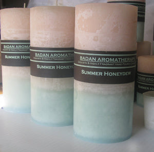 White & Melon Green: Summer Honeydew Pillar Candle Tall 3x6.5